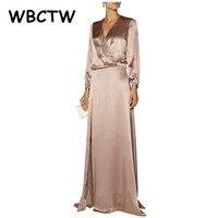 WBCTW Satin Robe À Manches Longues Wrap V-cou de Split Robes Plus La Taille Pour Les Femmes Maxi Longue Champagne Taille Haute Robe