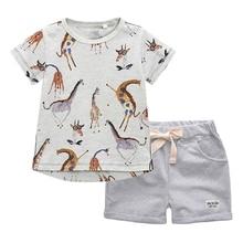 BINIDUCKLING Summer Boys Kids Clothing Sets Cartoon Giraffe Child T-shirt+Shorts Cotton Outifts Toddler Boys Clothes Set 2T-7T