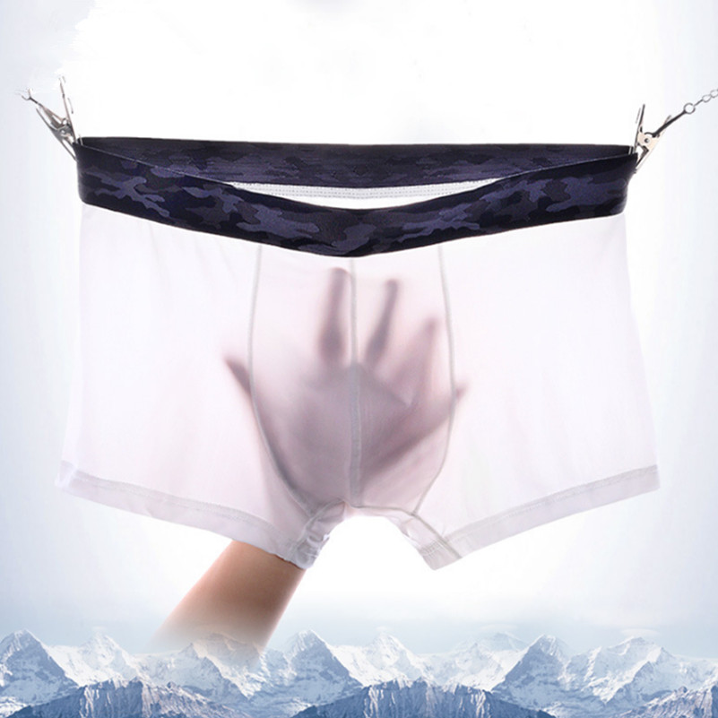 New Quality <font><b>Men's</b></font> Ice Silk Boxers <font><b>Shorts</b></font> Ultra-<font><b>thin</b></font> Transparent Sheer <font><b>Mens</b></font> <font><b>Sexy</b></font> Penis Pouch Panties no trace Plus Size Underwear image