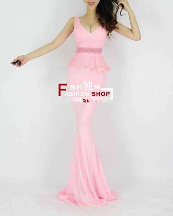 Распродажа, кружевные, v-образная горловина, вечерние платья строгое длинное вечернее платье vestido de festa; robe de soiree Abendkleider H0533