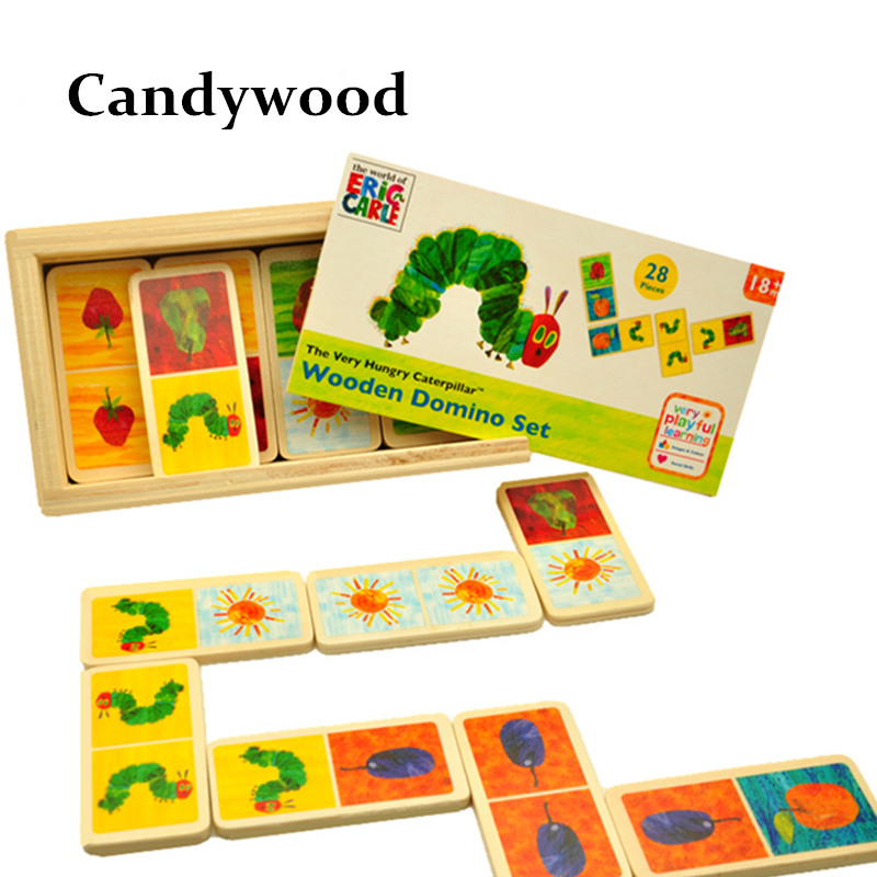 Eric Carle The Very Hungry Caterpillar Domino Set Wooden Classic Desktop Dominoes Game Kids Blocks Educational Toy eric carle mister seahorse