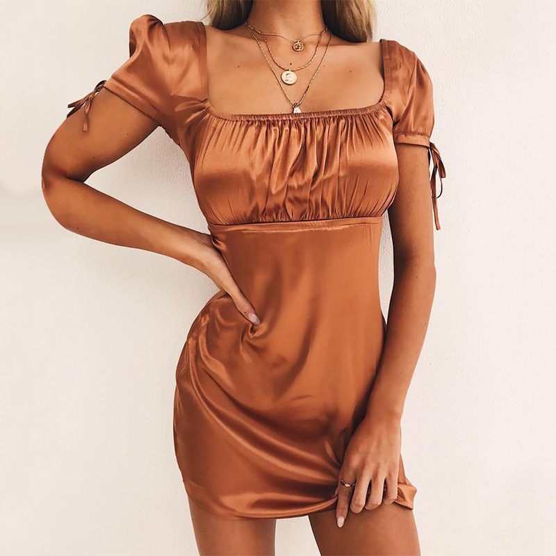 NCLAGEN 2018 New Women Sexy Pleated Patchwork Party Dresses Slim Fit Short Sleeve Night Club Female Solid Color Lace Up Dress