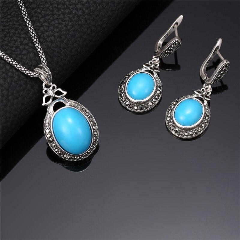 Sada etnických šperků pro ženy Starožitné stříbrné barvy plné drahokamu Velký oválný pryskyřice kámen přívěsek náhrdelník a náušnice sady