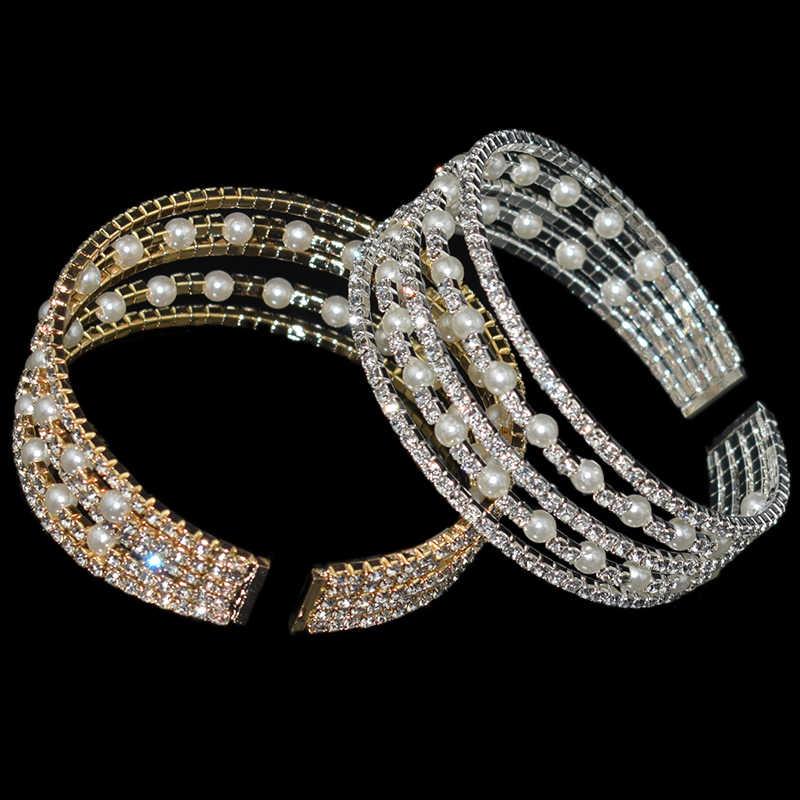 Fashion Kristal Imitasi Mutiara Pembukaan Gelang Gelang untuk Wanita Emas Perak Peregangan Gelang Pulseras Mujer Perhiasan Hadiah