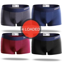 2019 Men Solid Color 4 Pcs/lot Boxer Man Male Cotton Boxer Shorts Men's Comfortable U Convex Breathable Belt Underwear
