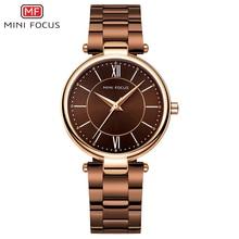 Мини фокус часы из нержавеющей стали ремешок для женщин водонепроницаемый роскошное платье кварцевые наручные часы для женщин леди кофе коричневый MF0189L
