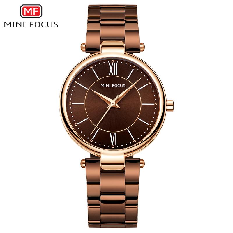 MINI FOCUS Stainless Steel Strap Watches For Women Waterproof Luxury Dress Quartz Wrist Watch Woman Lady Coffee Brown MF0189L