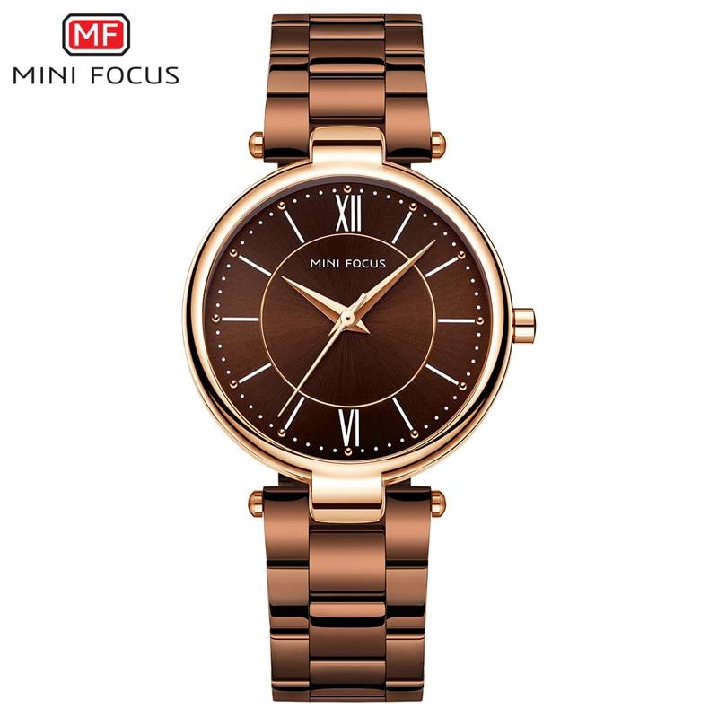 MINI FOCUS Stainless Steel Strap Watches For Women Waterproof Luxury Dress Quartz Wrist Watch Woman Lady Coffee Brown MF0189L