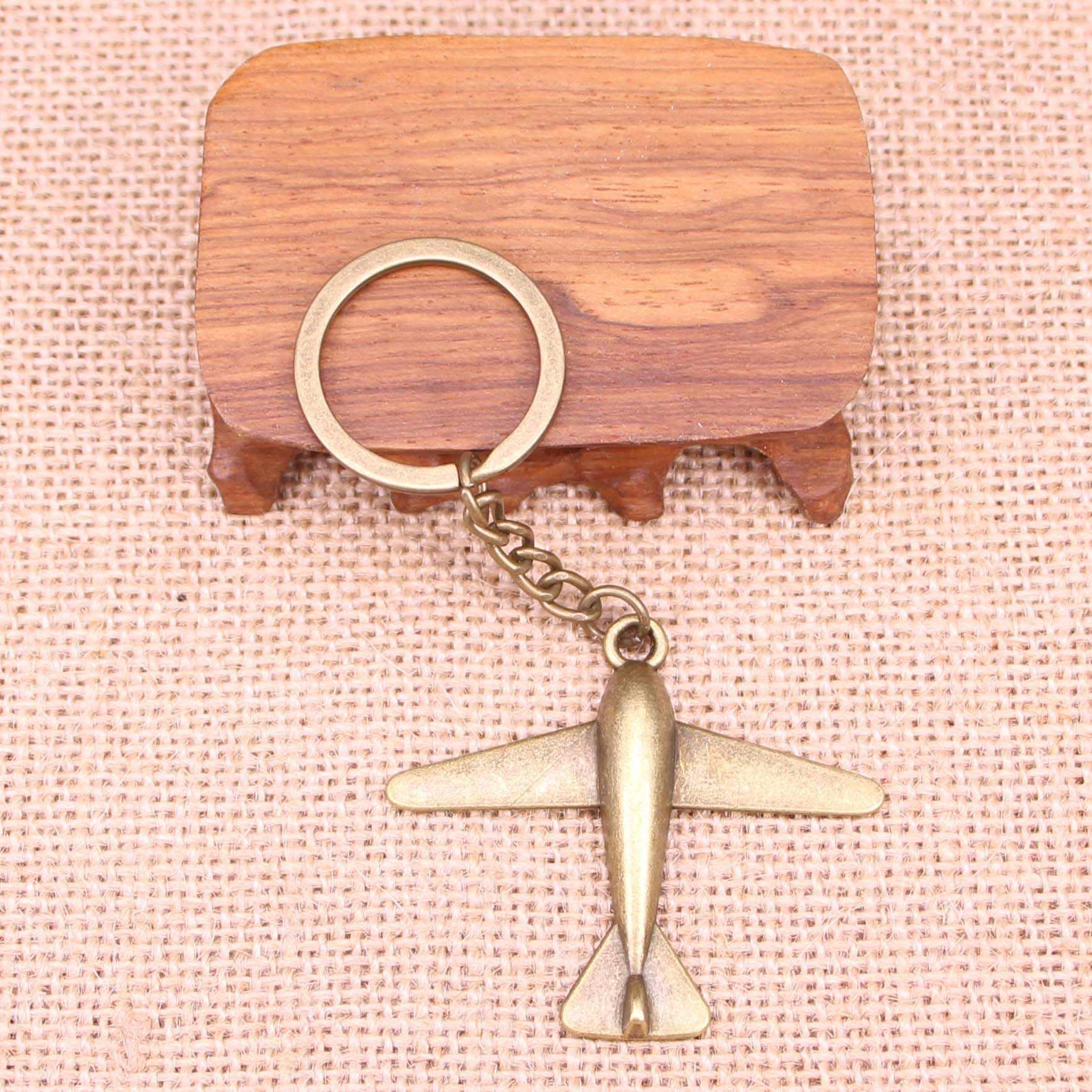 20 piezas nuevo llavero a la moda 50x42mm avión colgantes DIY hombres joyería coche llavero anillo soporte recuerdo para regalo