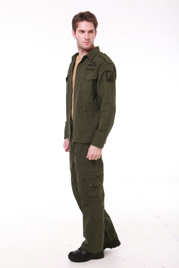 Army Green Mens Military Style Usa Army Fighting Cargo Tooling Sets Shirt + Pants Suit Long Sleeve