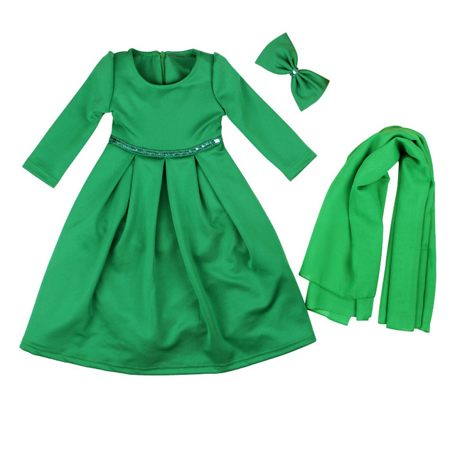 1-12T Muslim Girl Dress Long Sleeve Dresses For Girls Spring Autumn Dress+Headwear+Bow 3pcs Suits Combinaison Musulman Enfant