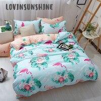 LOVINSUNSHINE Duvet Cover Bed Sets Queen Bedding Set Tropical Plant Cartoon Pink Flamingo Quilt Cover AB#2