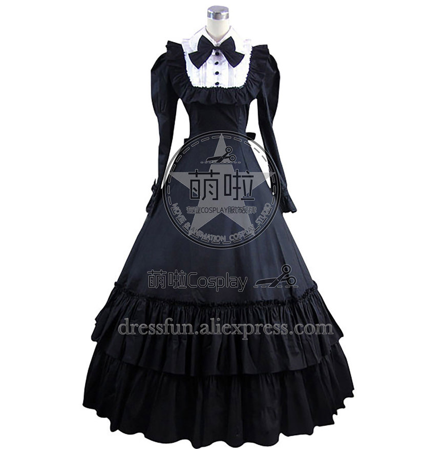 Japan Lolita Cosplay Cotton Dress Ball Gown Prom Servant Girl Style Dress With Classical Bowknot And Ruffles Cater To Role Play