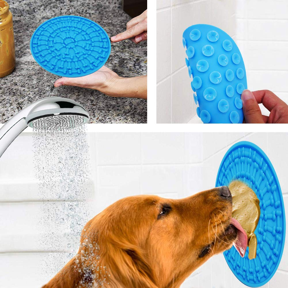 Dog Feeding Lick Mat Pet Dog Feeder Bowl For Bath Distraction Easy Grooming In Shower Tub Sink Toy Pet Washing Dog Accessories