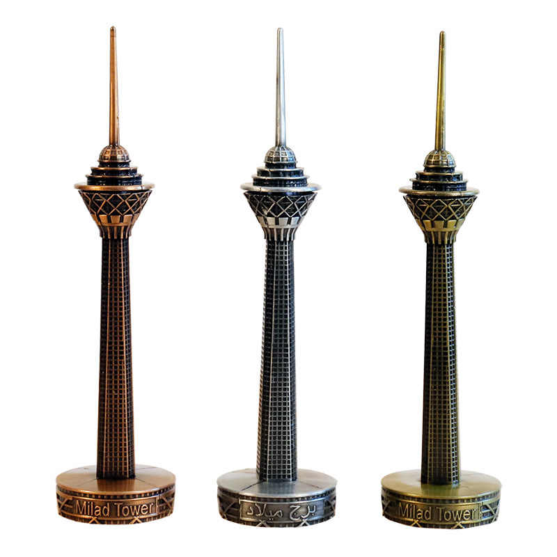 Creative Famous Iran Modta Tower Figurines Ornaments Metal Crafts Tower Building Model Home Office Desktop Decor Household Gifts