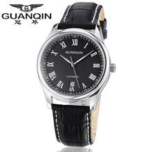 Top Brand GUANQIN Hombres Reloj Superior de la Marca Famosa Relojes Relogio masculino reloj de Cuero Reloj Mecánico De Lujo de Relojes A Prueba de agua