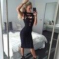 Botón sin mangas del vendaje vestidos de cuello halter sin mangas delgado vestidos de verano elegante de las mujeres de moda tallas grandes negro sexy dress