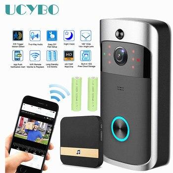 Video inalámbrico timbre Wifi ip intercom timbre de la puerta de la cámara de video de Audio a 720 P HD impermeable batería PIR de casa inteligente apartamento