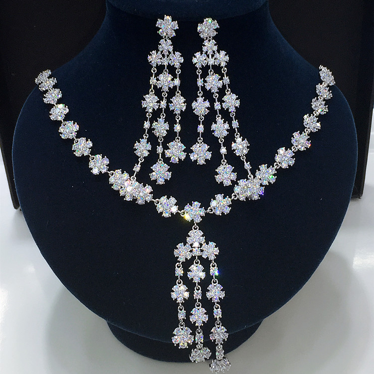 2016 Newest Luxury Brilliant Cubic Zircon Clear Earrings Necklace Dinner Jewelry Set for girls and women GLN0291/GLE4747