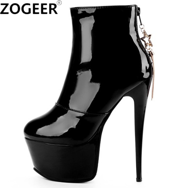 Plus size 48 New Women Ankle Boots PU Leather Fashion High Heels Sexy Boots Red White Platform Wedding Party Ladies Shoes Woman