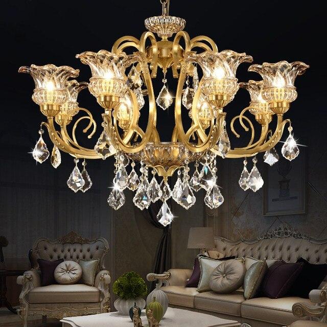 Europäischen Luxus Alle Kupfer Kristall Kronleuchter Wohnzimmer Schlafzimmer  Restaurant Amerikanischen Stil Retro Kristall Lampe Freies Verschiffen