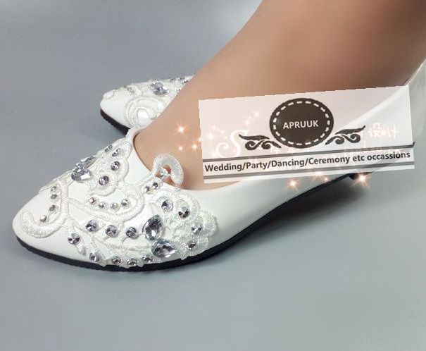 Plus Size White Lace Wedding Shoes Bride Flat Heel Handmade