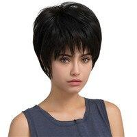 Wigs Fashion High Quality 1 PC 100% Real Remy Human Hair Topper Black real short straight hair Natural Hair Wigs dropship Jan9