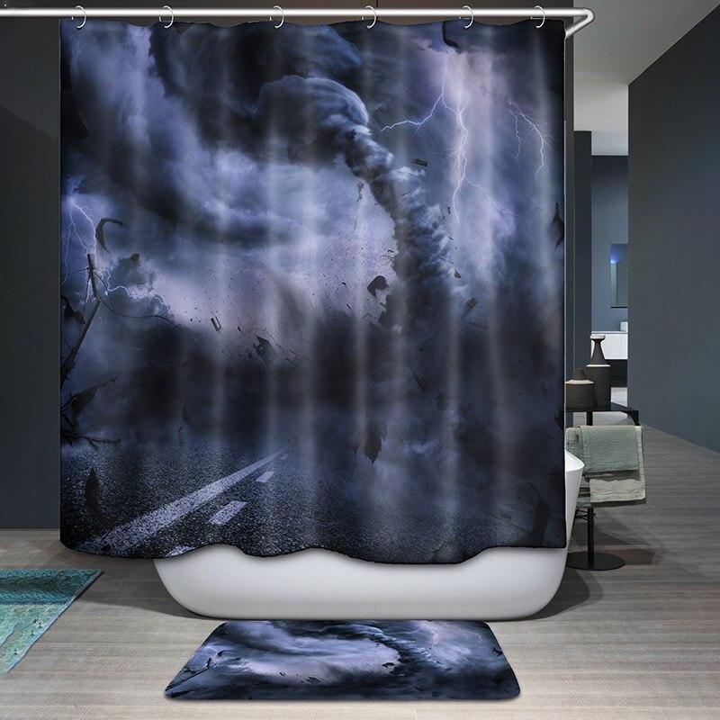 Monily Polyester Waterproof World Map Hands Fancy Scenic Shower ...