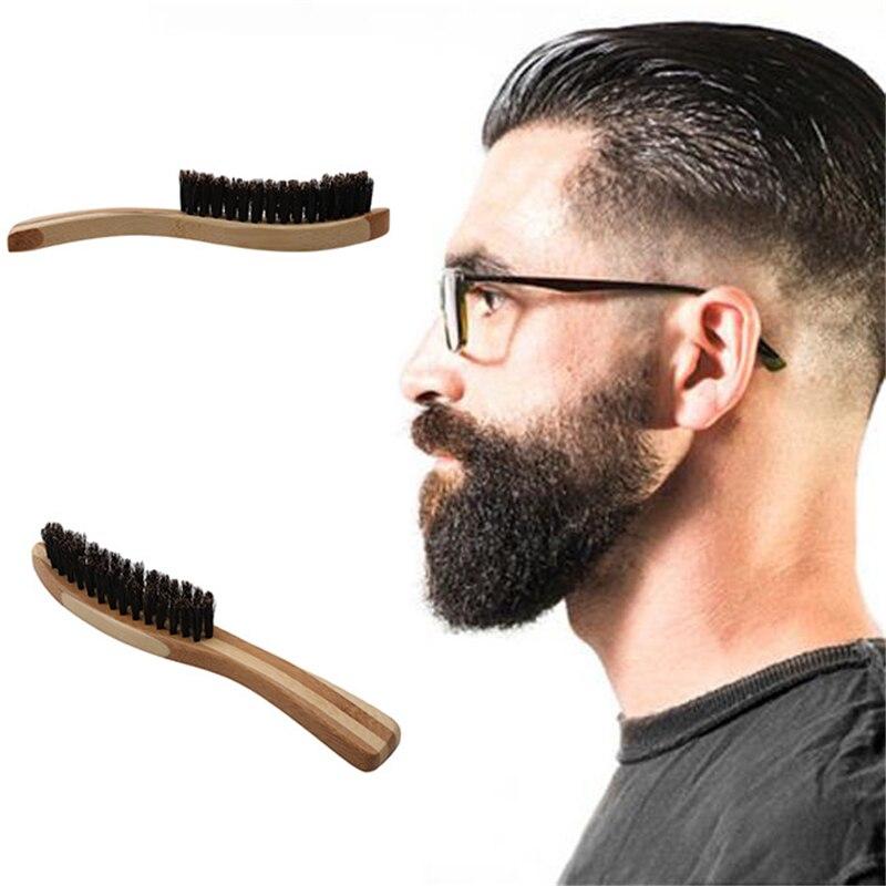 14*2.2cm Men Boar Hair Bristle Beard Brush Shaving Comb Face Massage Handmade Yellow Mustache Brush   Care