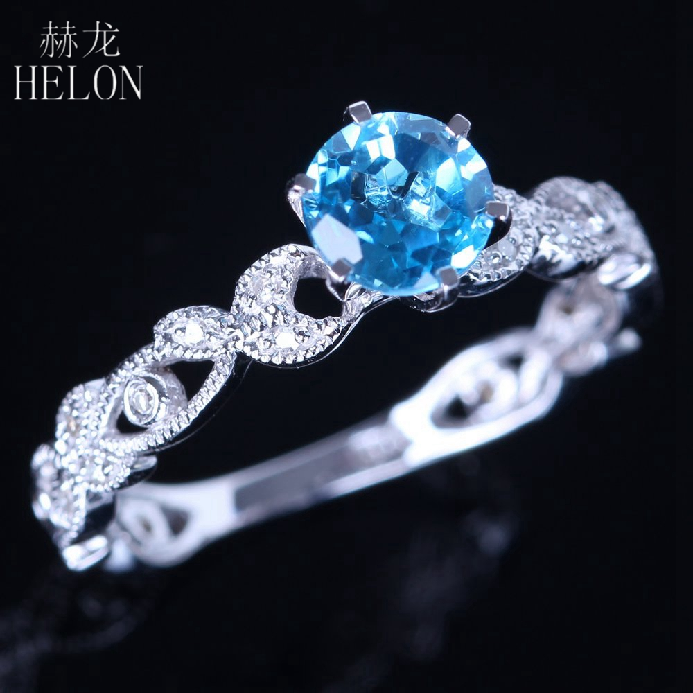 HELON 925 Sterling Silver 6.5mm Round Blue Topaz Gemstone Ring Natural SI/H Diamond Engagement Ring Unique Vintage Fine Jewelry helon sterling silver 925 flawless 11x9mm emerald cut 4 36ct real blue topaz natural diamond engagment wedding ring fine jewelry