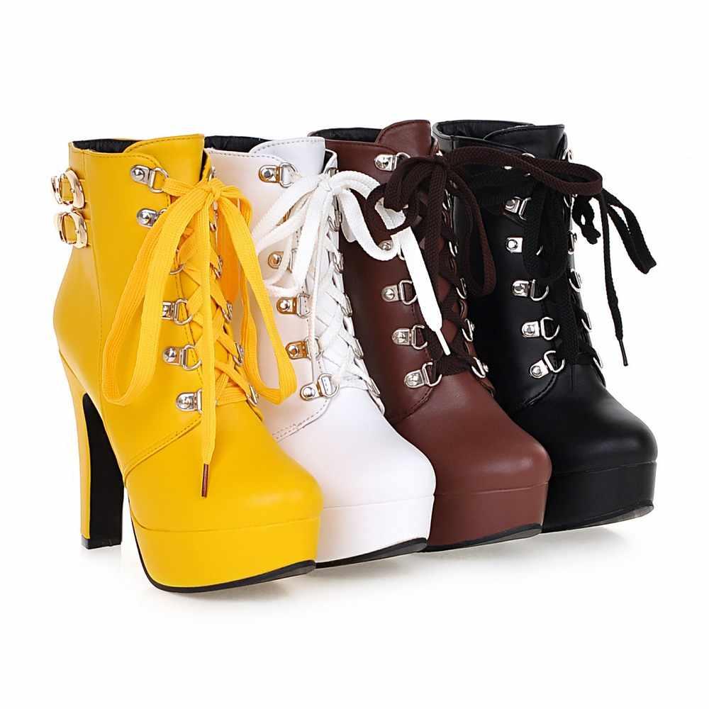 Lloprost ke Weibliche Winter Plattform Platz High Heel Stiefeletten Frauen Fashion Lace Up Runde Toe Schuhe Schwarz Gelb Weiß h449