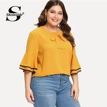 Sheinside Plus Size Yellow Tie Neck Work Top Women Bow Ruffle Half Sleeve Solid Elegant Office Ladies Autumn Blouse