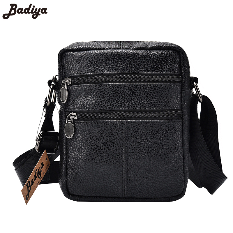 ba423c576b 100% Genuine Leather Men s Business Messenger Bags Zipper Design Solid  Black First Layer of Cow
