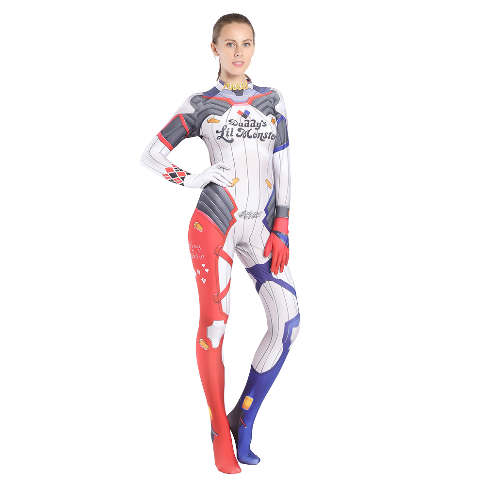 Suicide Squad Harley Quinn cosplay costume zentai suit Lycra Spandex jumpsuit body suit for Halloween costumes free shipping