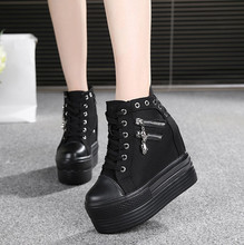 Black High Help Zipper Canvas Shoes Women Sneakers New 12CM Heels Lace Up Womens Woman Trainers