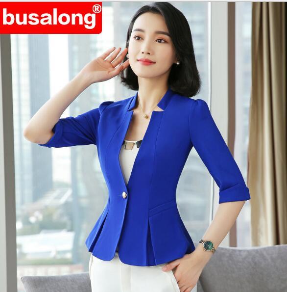 2019 Spring Temperament Fashion Formal Blue Blazer Women OL Slim Half Sleeve Jacket Business Office Ladies Plus Size Work Work