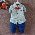 Весна Осень мальчиков одежда набор хлопок формальные детская одежда футболка с длинным рукавом + брюки 2 шт./компл. мальчика костюм детей одежда