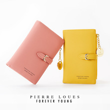 2019 New Women Leather Wallets Zipper Buckle Fashion  Version Of The Solid Color Short Wallet Card Package Clutch Bag