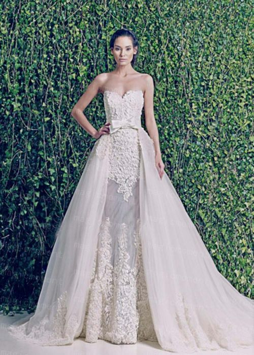 Zuhair Murad Two Piece Wedding Dress With Detachable Train Real Photo Sweetheart Mermaid Tulle Sleeveless Bridal Gown In Dresses From Weddings