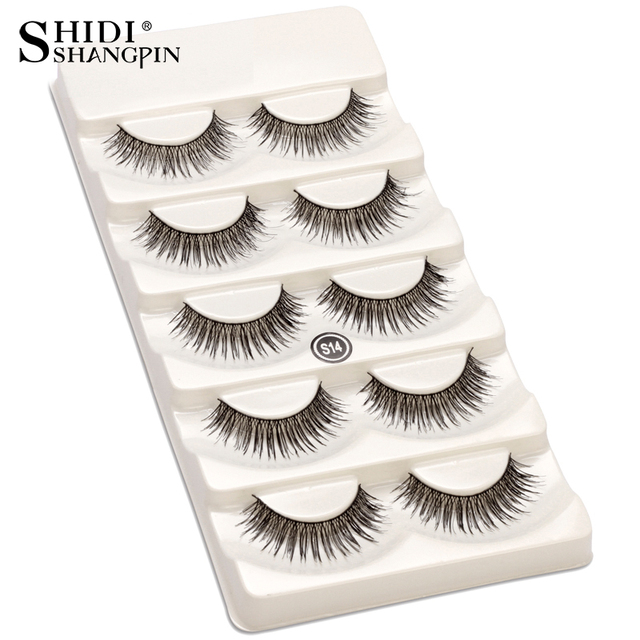 61edd2ab037 5 Pairs 100% Handmade Natural Black 10 mm Top Brand False Eyelashes Lashes  Makeup Eye Lashes Beauty Tools Wispy Fake Lashes S14