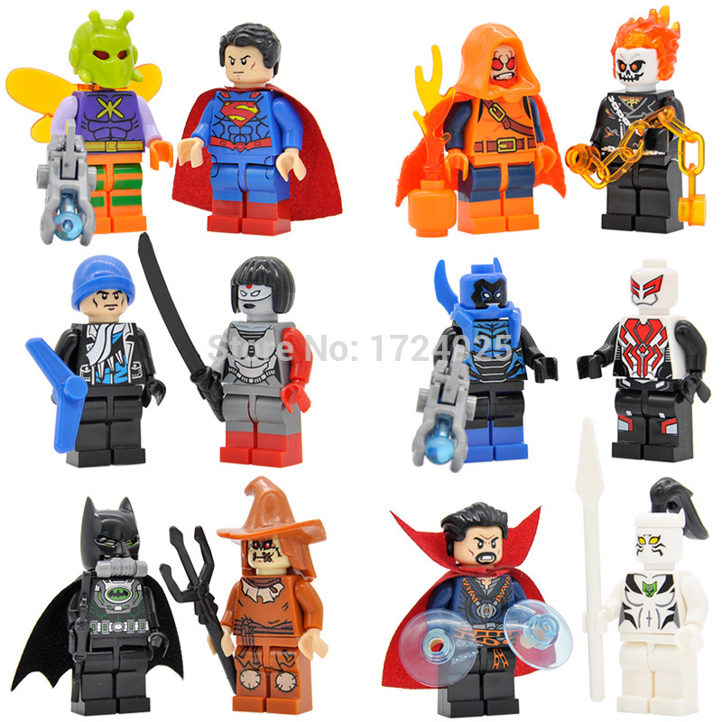 12pcs Dr Strange Suicide Squad Figure Ghost Rider Katana Batman Captain Boomerang Hobgoblin Building blocks Super Hero toys universal sltcrpasion soft 3 5mm air tube in ear monaural elastic flexible phone earphone anti radiation spy earpiece with mic