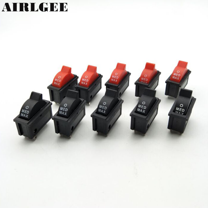 цена на 5 Pcs AC 250V 10A SPDT 1NO 1NC 3 Pin Black Red Hot Wind Control Button Rocker Switch for Hair Dryer