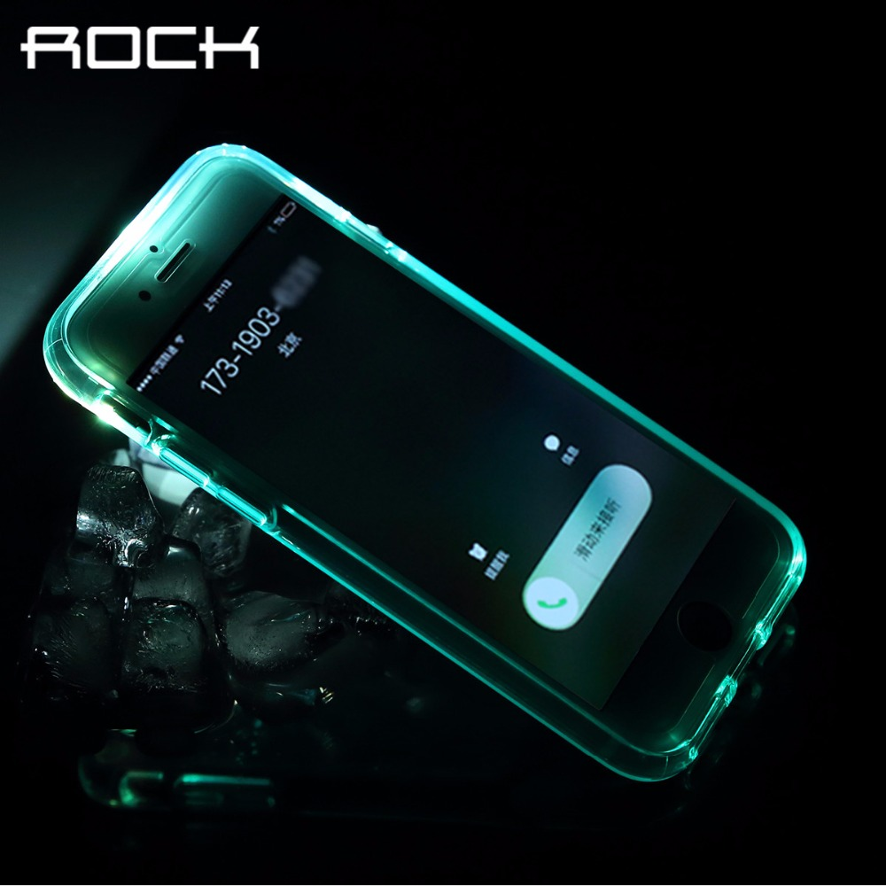 ROCK LED Flash Light case for iPhone 7 cases TPU Transparent shine glitter cover for iPhone 7 plus cases with retail box