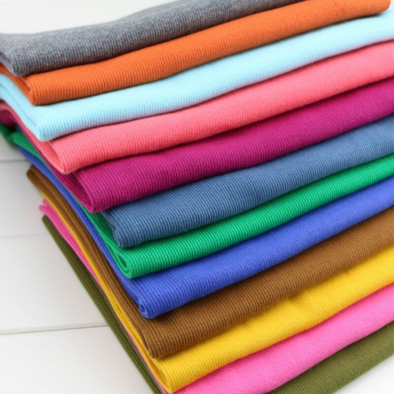 2*2 coton tricoté côtes manchette tissu extensible pour les poignets abdominaux enceintes Sport pull col coton tissu 10*80-100 cm