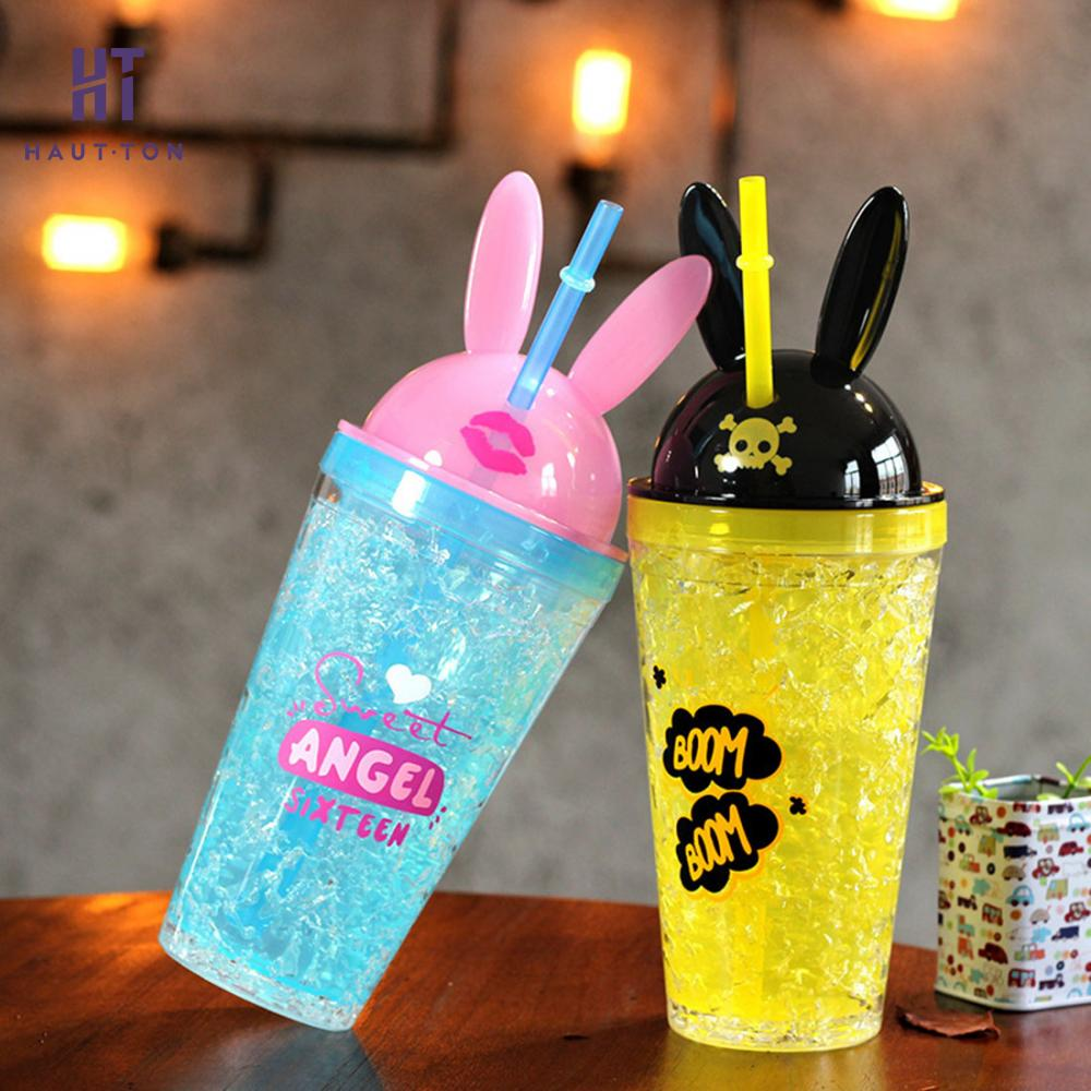 Cute Water bottle with Bunny Ears and a Straw 2
