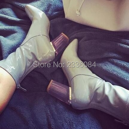 Transparent heel Ankle women Boots Patent leather Thick heel Short Booties Designer hollow out heels perspex heel see through