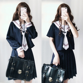 Summer and autumn orthodox jk uniform student sailor suit set long sleeve pleated skirt college wind  uniform school costume