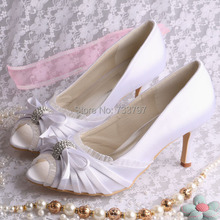 Wedopusปั๊มส้นเท้ากับโบว์เปิดนิ้วเท้ารองเท้ารองเท้าส้นสูงสีขาวสำหรับงานแต่งงานDropship