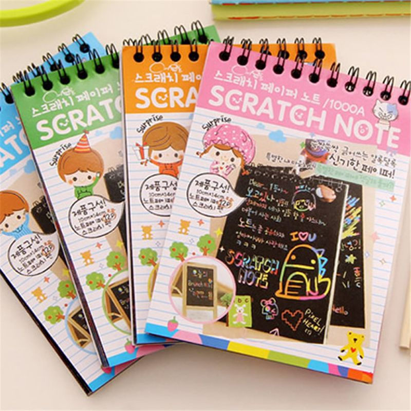 Scratch Sketch Art Notes Rainbow Scratch Magic Doodle Notes Perfect Travel Activity Gift For Girls Boys Drawing Toys