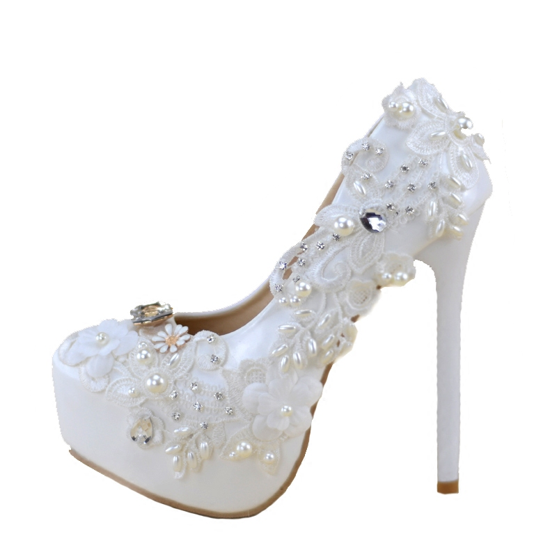 High heeled Shoes Woman White Bride Wedding Shoes Hand Lace Dress Single  Shoes Dinner Women s Pumps Plataformas Mujer Ladies Sho-in Women s Pumps  from Shoes ... a8280fc7bf78